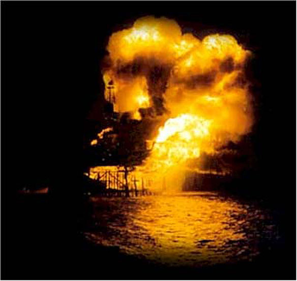 Deep water oil rig explosion